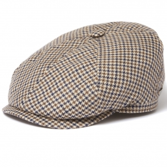 Houndstooth Narrow Check 6-Panel Flat Cap