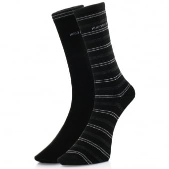 Hugo Boss Black Double pack Black stripe Socks 5031286