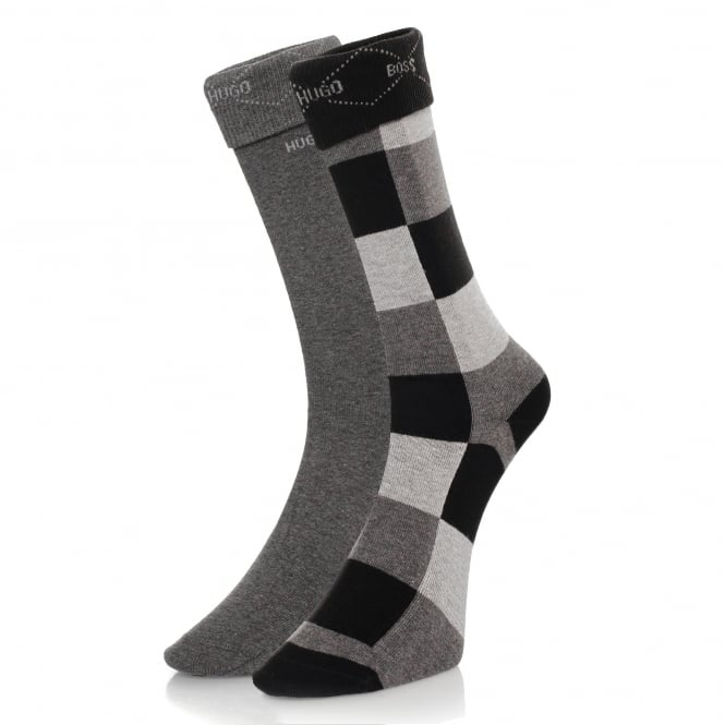 BOSS Hugo Boss Hugo Boss Black Double Pack Patterned Black/Grey Socks 50139262