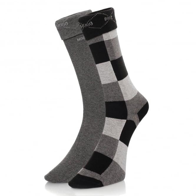 Burlington Socks Hugo Boss Black Double Pack Patterned Black/Grey Socks 50139262