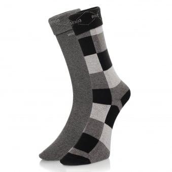 Hugo Boss Black Double Pack Patterned Black/Grey Socks 50139262