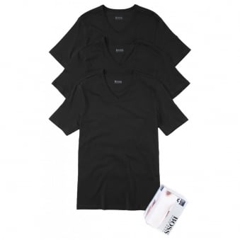 Hugo Boss Classic V-Neck Pack of 3 Black T-shirts 50236739