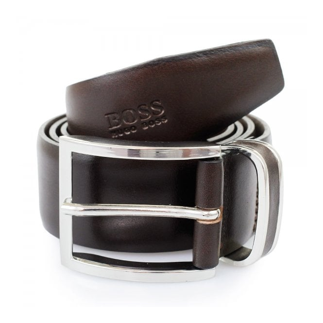 BOSS Hugo Boss Hugo Boss Dark Brown Froppin Leather Belt 50151746 202