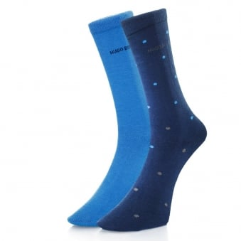 Hugo Boss Double Pack Blue Patterned Socks 503128