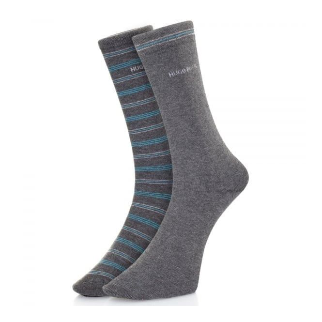 BOSS Hugo Boss Hugo Boss Double pack Grey Stripe Socks 50312
