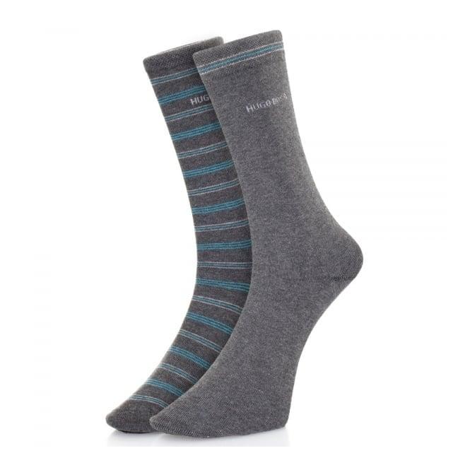 BOSS Hugo Boss Hugo Boss Double pack Grey Stripe Socks 50312