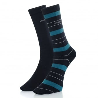 Hugo Boss Double Pack Navy Stripe Socks 50319261