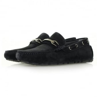 Hugo Boss Dripin Dark Blue Suede Moccasins Shoe 50310871