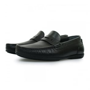 Hugo Boss Flamio Black Leather Moccasin Shoes 50298115