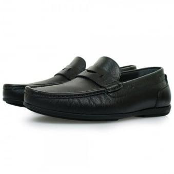 Hugo Boss Flamio Black Leather Moccasin Shoes 50298115