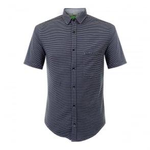 Hugo Boss Green Bascelino Striped Navy Shirt 50308453