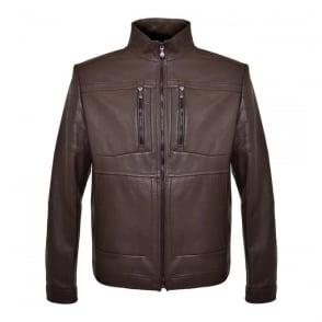 Hugo Boss Green C-Jentos Medium Brown Leather Jacket 50308948