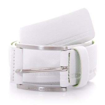 Hugo Boss Green Tymo Cowhide White Belt 50280785