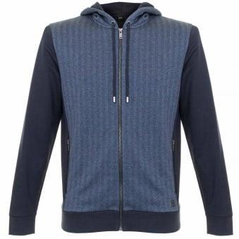 Hugo Boss Jacket Hooded Dark Blue Herringbone Track top 50326842