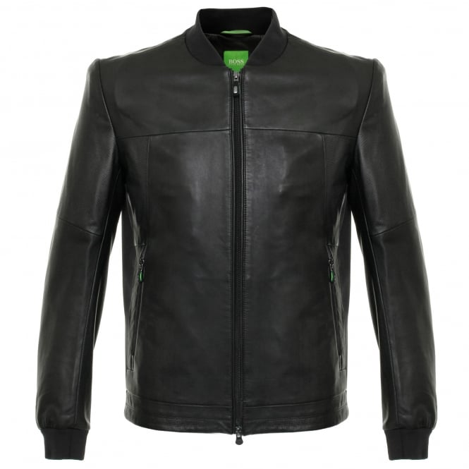 Boss Green Hugo Boss Jolmen Black Leather Jacket 50319994
