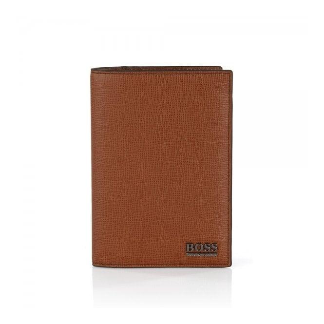 BOSS Hugo Boss Hugo Boss Mixtel Med Brown Leather Passport Holder 50305589