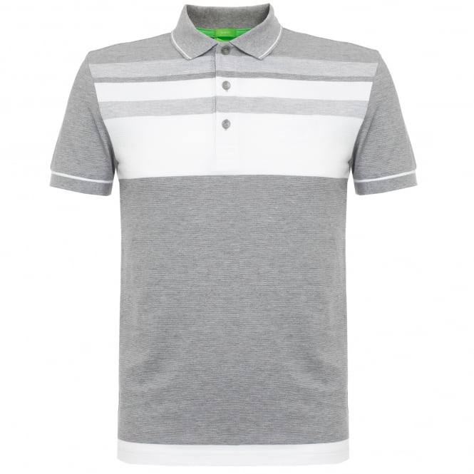 Boss Green Hugo Boss Paule 2 Light Grey Striped Polo Shirt 50320603