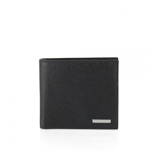 BOSS Hugo Boss Hugo Boss Signature_4 CC Coin Black Leather Wallet 50311738