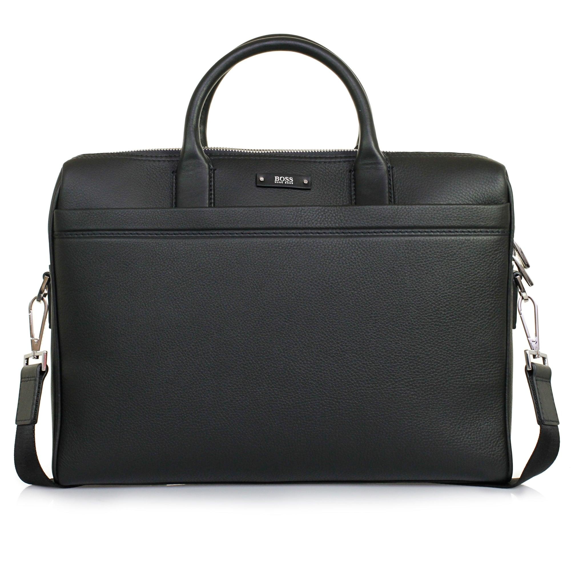 Hugo Boss Traveller S Doc Black Leather Laptop Bag 50311773
