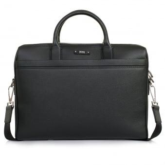 Hugo Boss Traveller_S Doc  Black Leather Laptop Bag 50311773