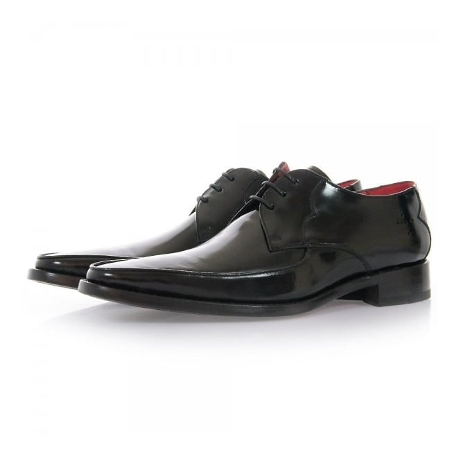 Jeffery West Get Back Harrison Black Polish Leather Shoes