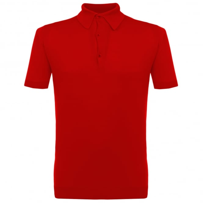 John Smedley Adrian Red Knitted Polo Shirt P46