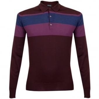 John Smedley Pelton Port Stripe Polo Shirt 016