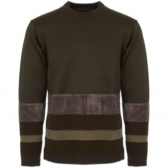 Khaki Contrast Border Mock Neck Jumper