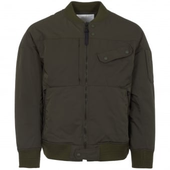 Khaki Gore Windstopper Twill Yoke Sleeve MA-1 Bomber Jacket