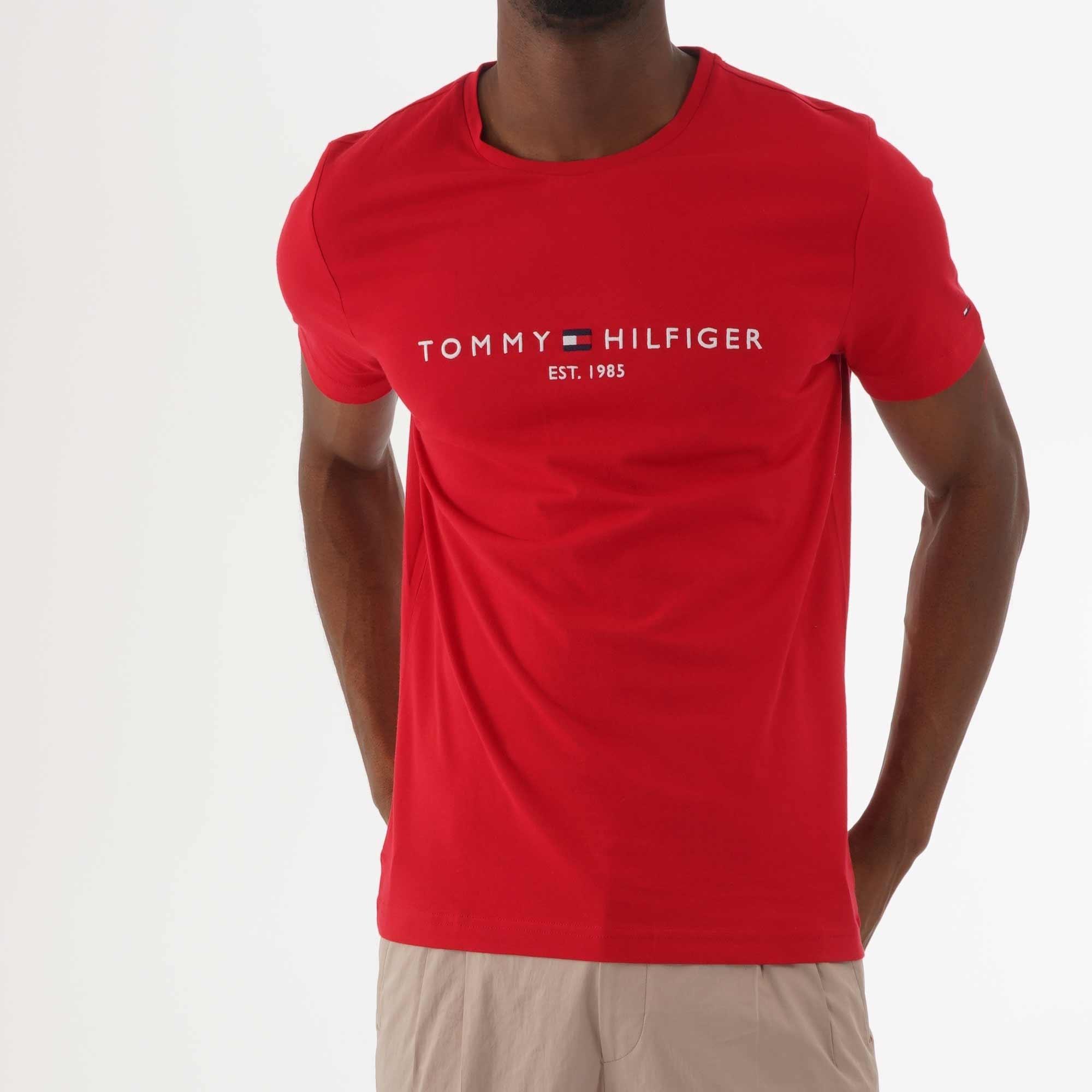 Tommy Hilfiger Original Logo Flag T Shirt Navy   Utility Bear