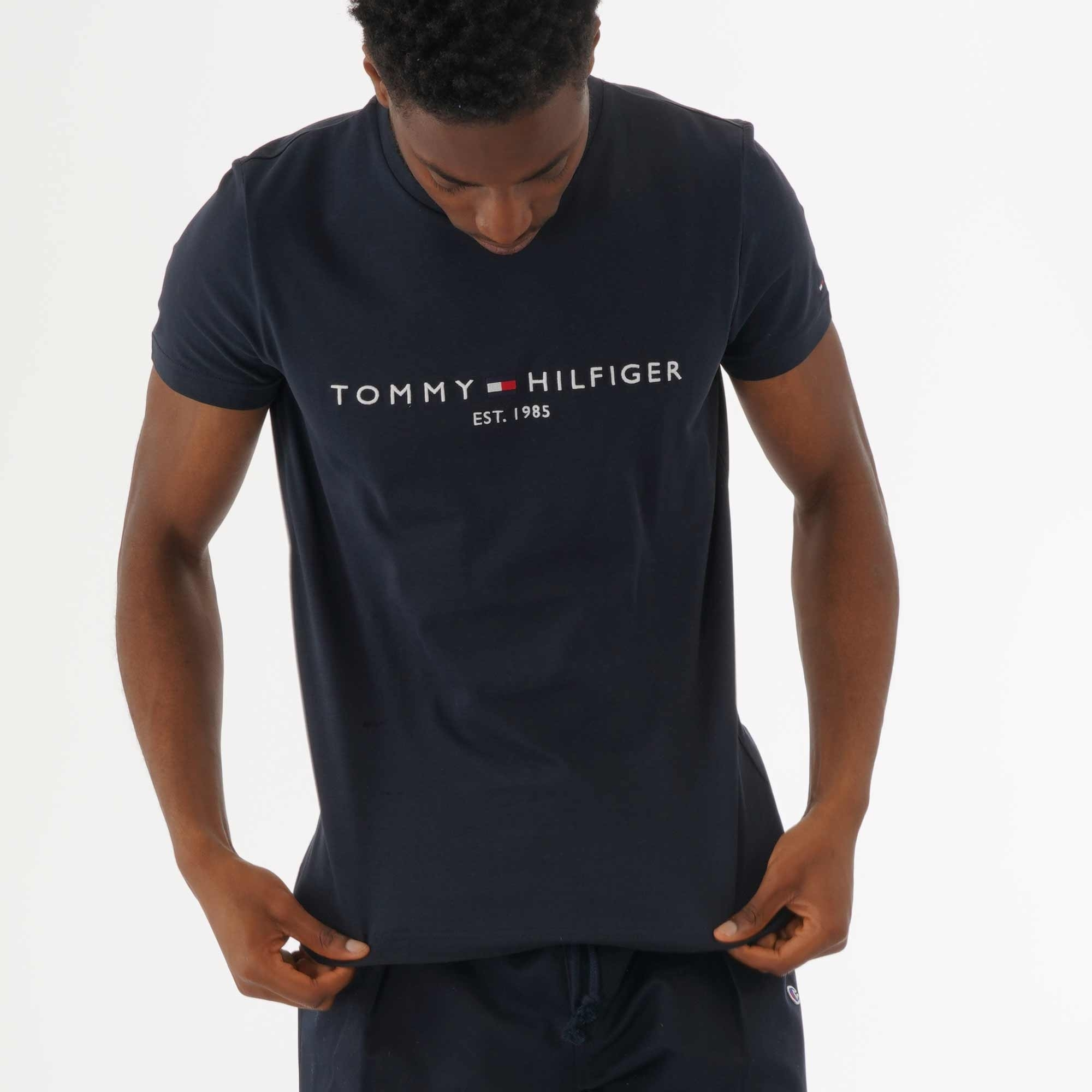 TOMMY HILFIGER T SHIRT MENS BOX LOGO SKY CAPTAIN CREW NECK TEE