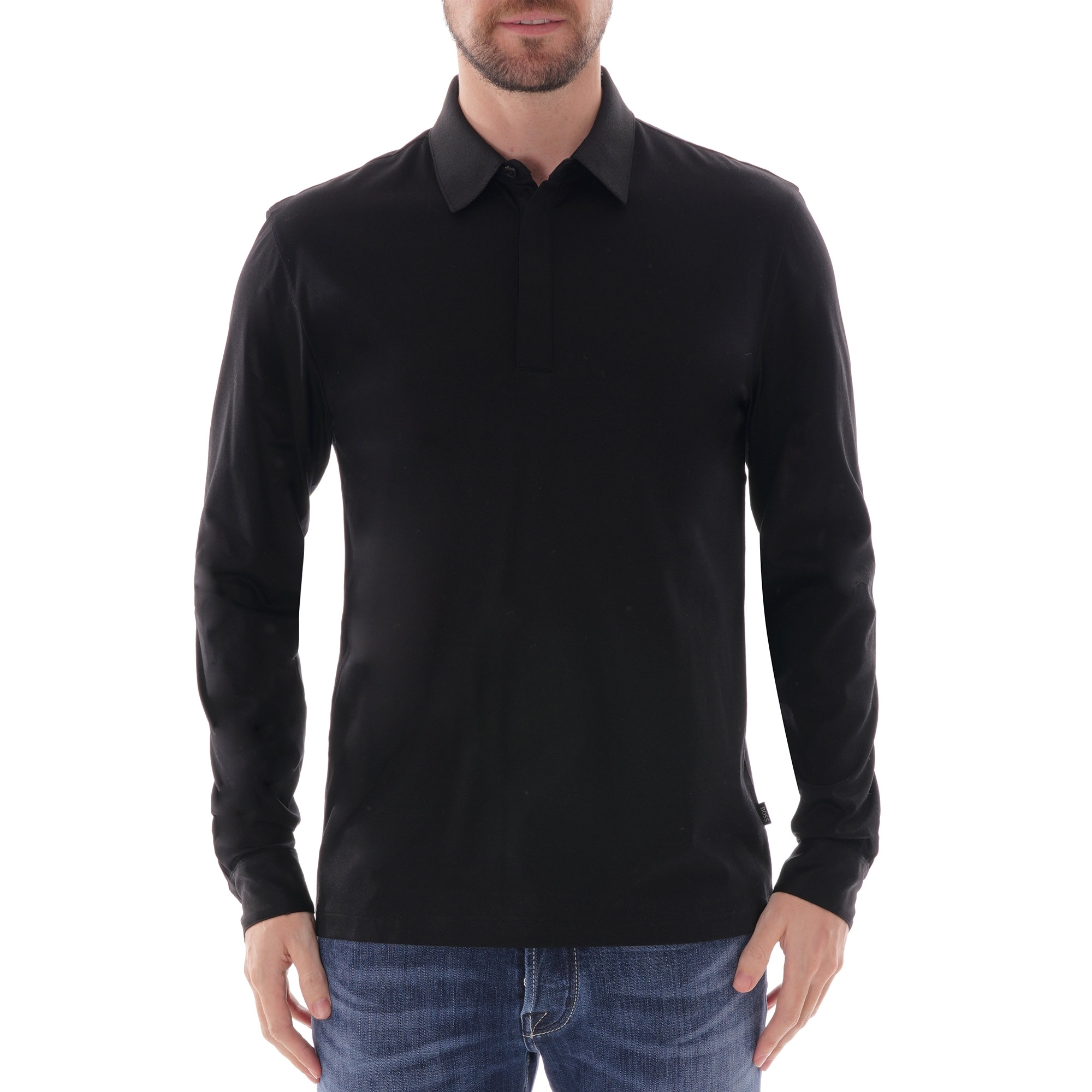 BOSS Long Sleeve Polo Shirt - Black