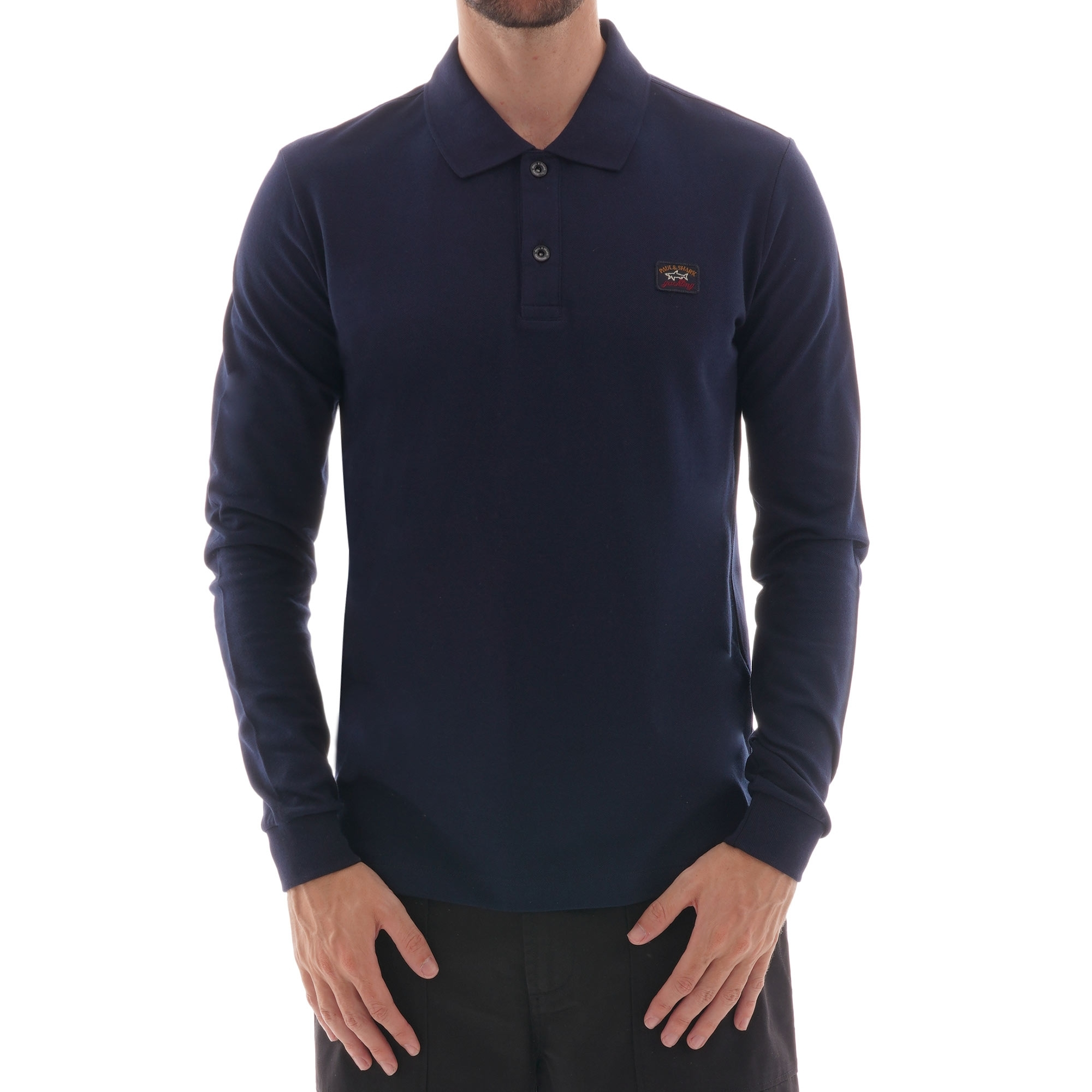 Paul and Shark Men/'s Long Sleeve Pique Cotton Polo Shirt