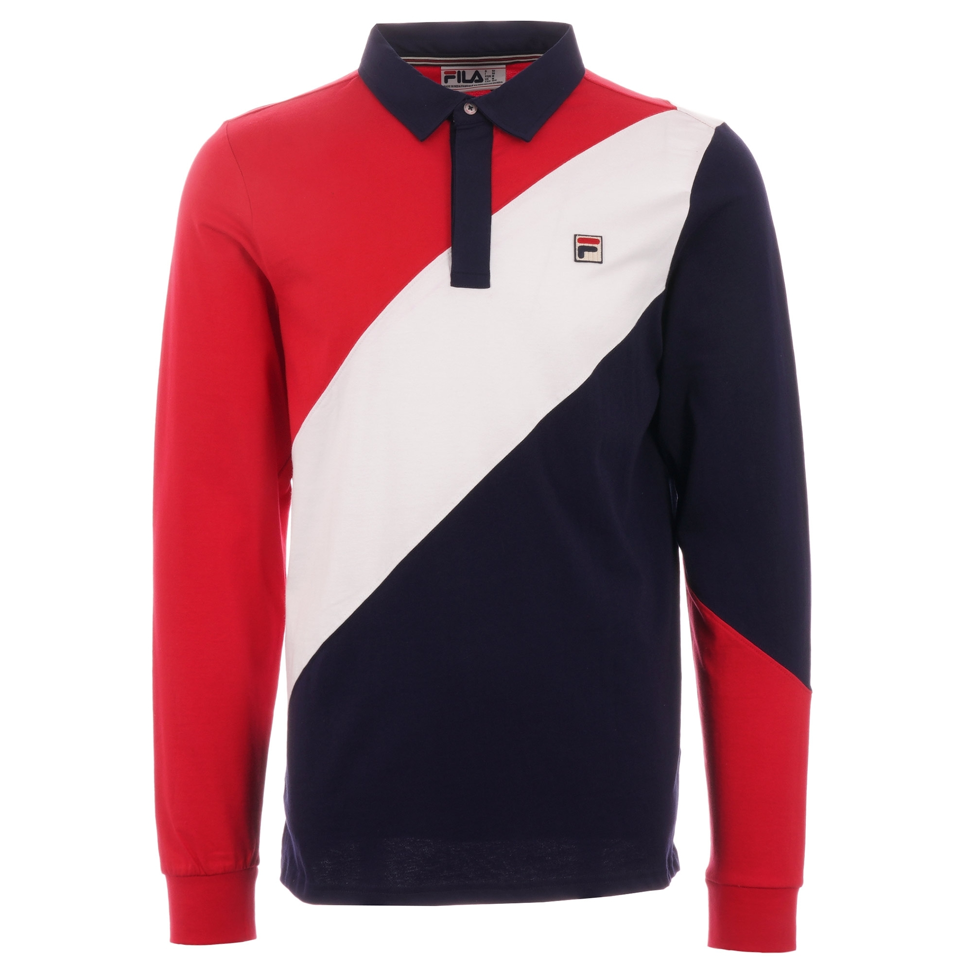 Mazen Long Sleeve Polo Shirt - Peacoat, Chinese Red & White