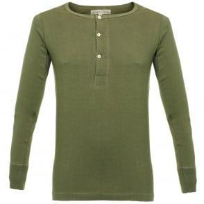 Merz B. Schwanen Button Facing Army Green Henley T-Shirt 206