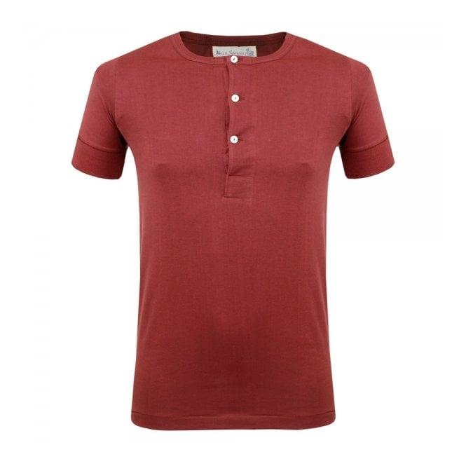 Merz b Schwanen Merz B. Schwanen Button Facing Dark Red Shirt 207