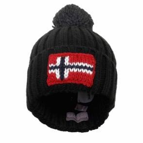 Napapijri Semiury Black Wool Beanie Hat NOY82GO41