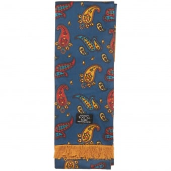 Navy Gold Paisley Silk Scarf