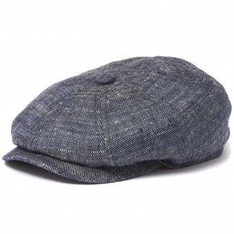 Navy Linen and Silk Denim Newsboy Cap