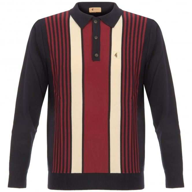 Gabicci Vintage 1973 Navy Searle Multistripe Knitted Polo