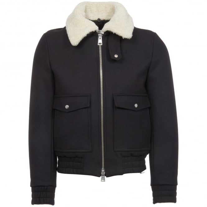 AMI Navy Zipped Shearling Bomber Jacket