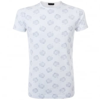 Nigel Hall Printed Flowers White T-Shirt JE1025WHCO1