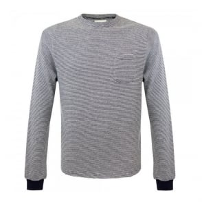 Oliver Spencer Rica Crew Navy Oatmeal Stripe Jumper OSK475