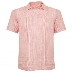 Orlebar Brown Patrick Stripe Iris Linen Shirt 264602