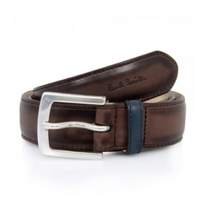 Paul Smith Brown Burnished Leather Belt AKXA-068J-B28