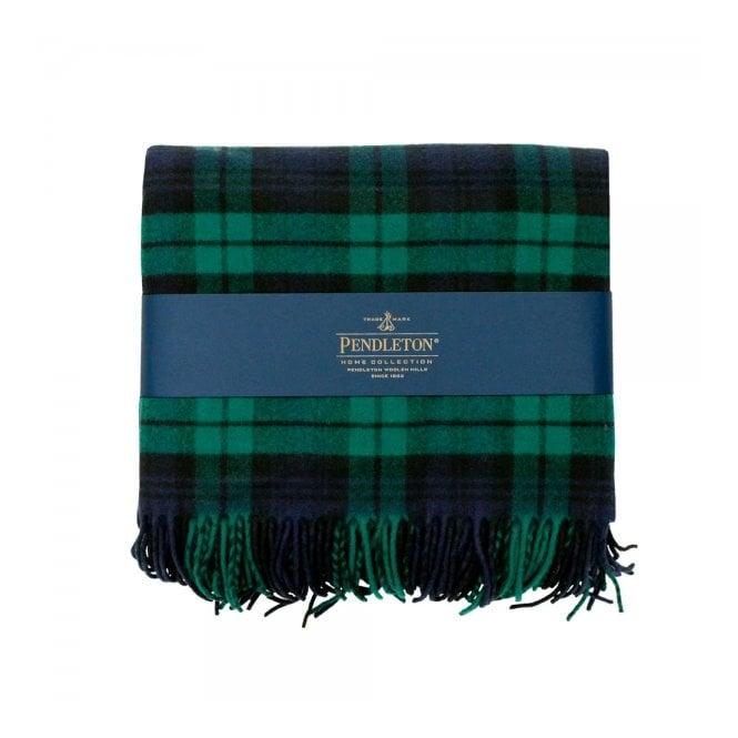 Pendleton Woolen Mills Pendleton Plaid 5th Avenue Throw Black Watch Green Blanket 71014