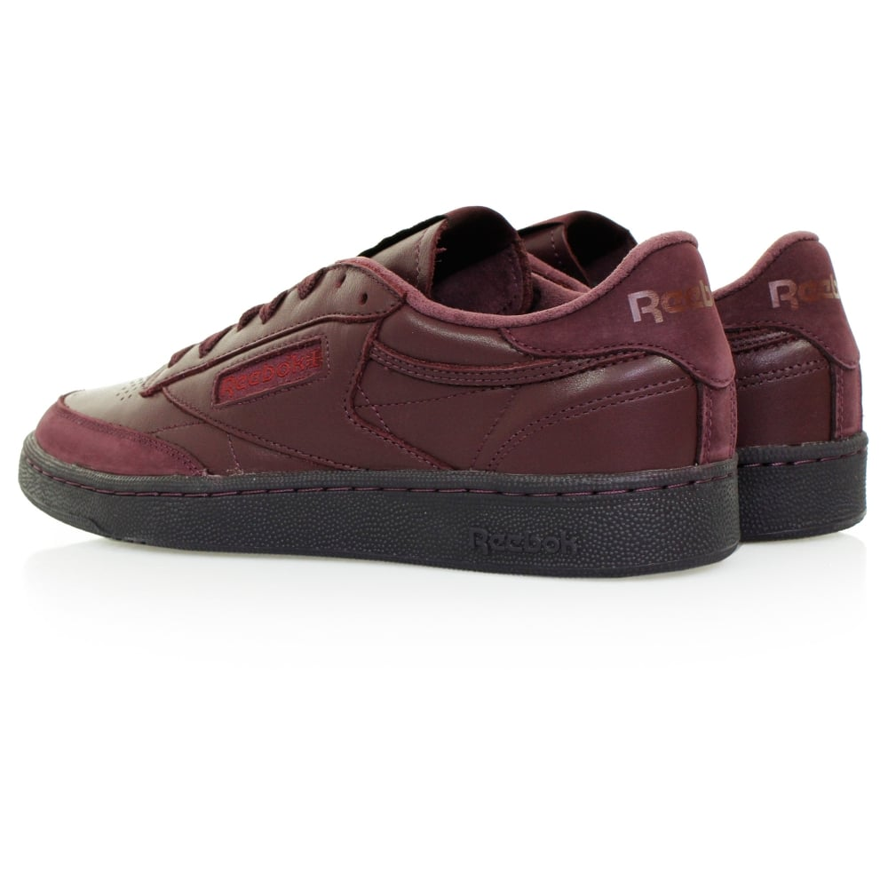 reebok club c 85 bs sneakers burgundy leather shoe