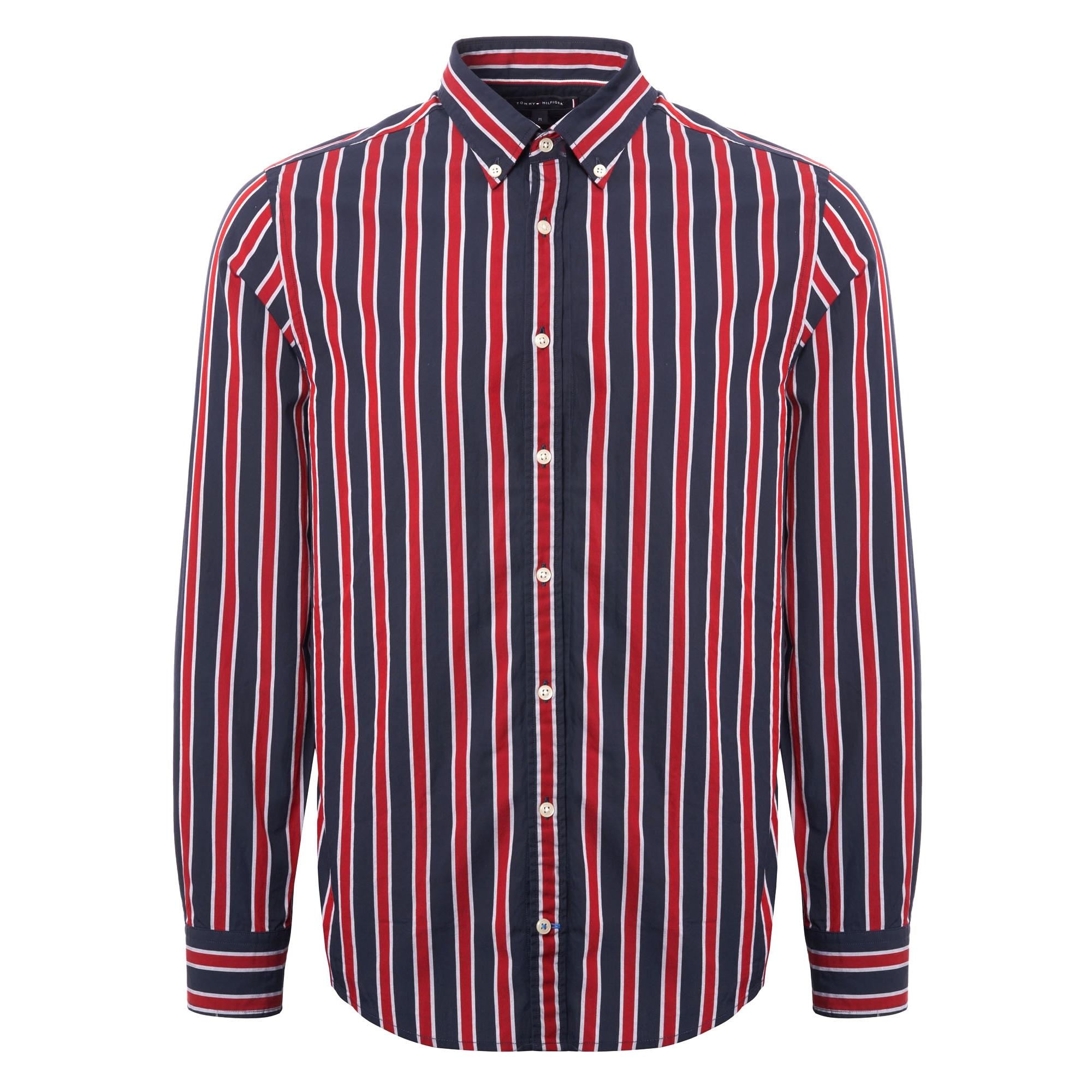 Tommy Hilfiger Regimental Stripe Shirt Red Black Us Stockists