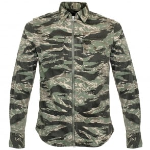 Replay Zip Front Camouflage Print Shirt M4965