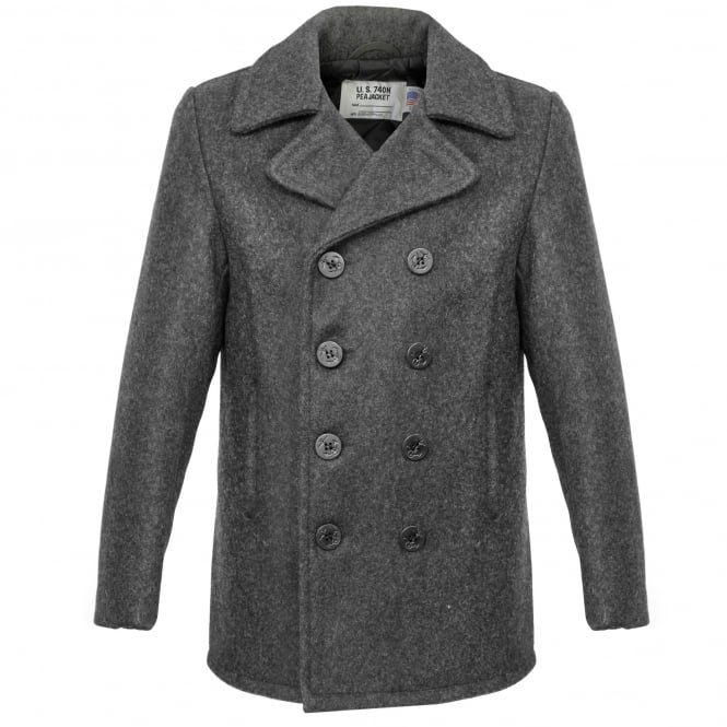 Schott NYC Schott Classic Melton Wool Grey Peacoat 740